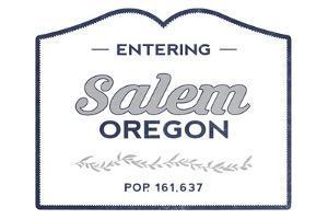 Salem, Oregon - Now Entering (Blue) by Lantern Press
