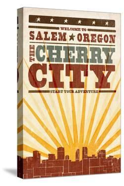 Salem, Oregon - Skyline and Sunburst Screenprint Style by Lantern Press