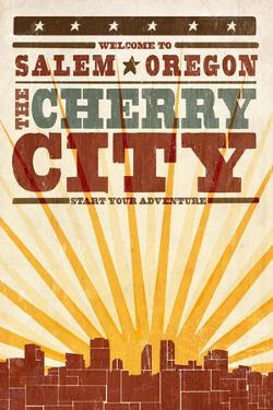 Salem, Oregon - Skyline and Sunburst Screenprint Style by Lantern Press