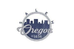 Salem, Oregon - Skyline Seal (Blue) by Lantern Press