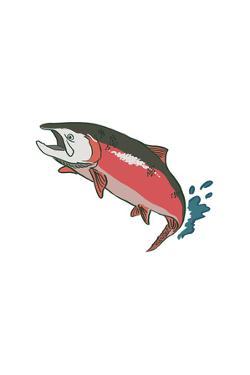 Salmon with Splash - Icon by Lantern Press
