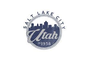 Salt Lake City, Utah - Skyline Seal (Blue) by Lantern Press