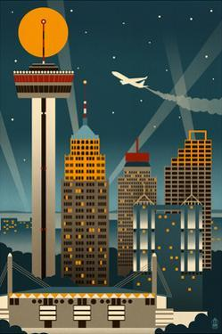 San Antonio, Texas - Retro Skyline (no text) by Lantern Press