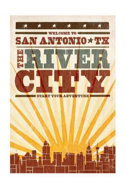 San Antonio, Texas - Skyline and Sunburst Screenprint Style by Lantern Press