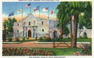 San Antonio, Tx - Exterior View of the Alamo, French, Spanish, Us, Republic, Mexican Flags, c.1944 by Lantern Press