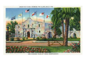 San Antonio, Tx - Exterior View of the Alamo, French, Spanish, Us, Republic, Mexican Flags, c.1944 by Lantern Press