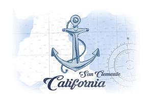San Clemente, California - Anchor - Blue - Coastal Icon by Lantern Press