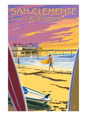 San Clemente, California - Beach and Pier by Lantern Press
