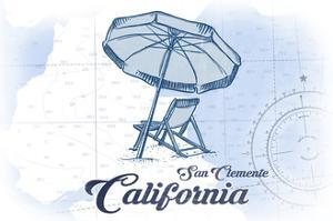 San Clemente, California - Beach Chair and Umbrella - Blue - Coastal Icon by Lantern Press
