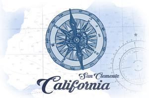 San Clemente, California - Compass - Blue - Coastal Icon by Lantern Press