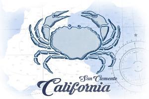 San Clemente, California - Crab - Blue - Coastal Icon by Lantern Press