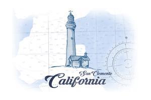 San Clemente, California - Lighthouse - Blue - Coastal Icon by Lantern Press