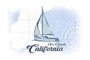 San Clemente, California - Sailboat - Blue - Coastal Icon by Lantern Press