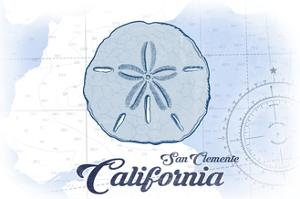 San Clemente, California - Sand Dollar - Blue - Coastal Icon by Lantern Press