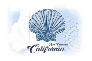 San Clemente, California - Scallop Shell - Blue - Coastal Icon by Lantern Press