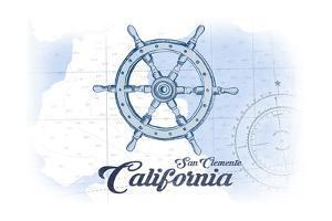 San Clemente, California - Ship Wheel - Blue - Coastal Icon by Lantern Press