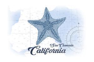 San Clemente, California - Starfish - Blue - Coastal Icon by Lantern Press