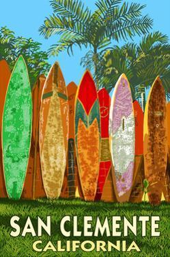 San Clemente, California - Surfboard Fence by Lantern Press