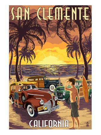 San Clemente, California - Woodies and Sunset by Lantern Press