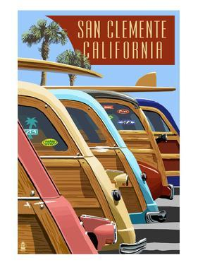 San Clemente, California - Woodies Lined Up by Lantern Press