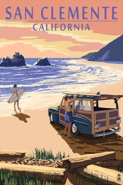 San Clemente, California - Woody on Beach by Lantern Press