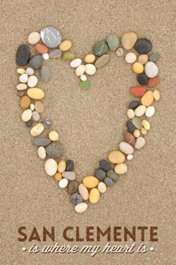 San Clemente Is Where My Heart Is - California - Stone Heart on Sand by Lantern Press