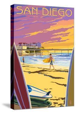 San Diego, California - Beach and Pier by Lantern Press