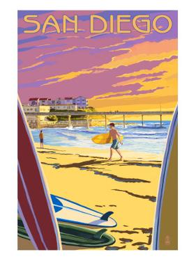 San Diego, California - Beach and Pier by Lantern Press