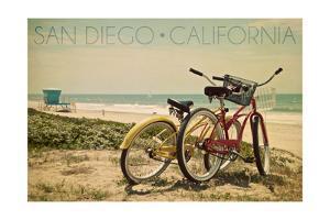 San Diego, California - Bicycles and Beach Scene by Lantern Press