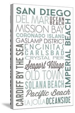 San Diego, California - Green Typography by Lantern Press