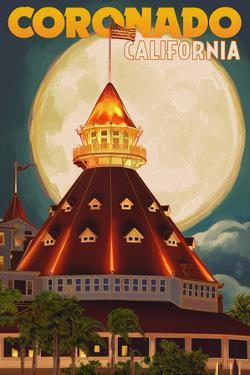 San Diego, California - Hotel Del Coronado and Moon by Lantern Press