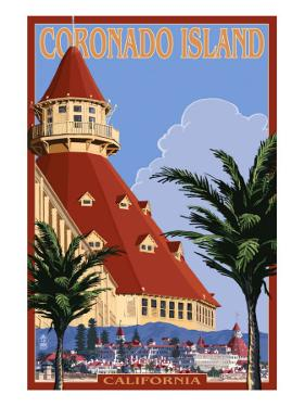 San Diego, California - Hotel Del Coronado by Lantern Press