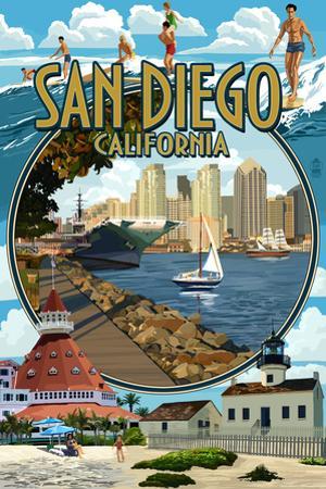 San Diego, California Montage by Lantern Press