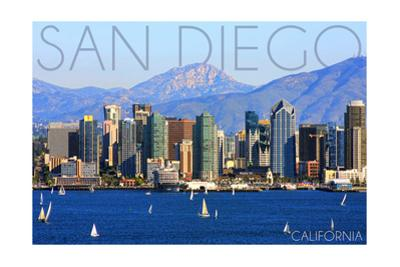 San Diego, California - Mountains and Sailboats by Lantern Press