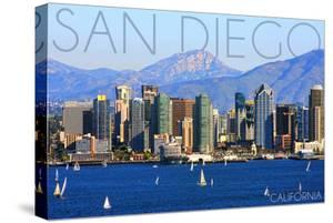San Diego, California - Mountains and Sailboats by Lantern Press