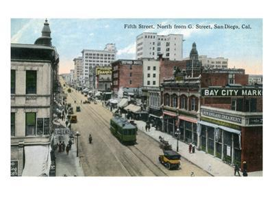 San Diego, California - Northern View of 5th Street from G Street by Lantern Press