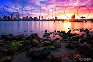 San Diego, California - Ocean and Skyline at Sunset by Lantern Press