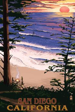 San Diego, California - Ocean & Sunset by Lantern Press