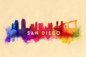 San Diego, California - Skyline Abstract by Lantern Press