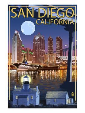 San Diego, California - Skyline at Night by Lantern Press