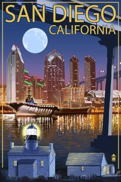San Diego, California - Skyline at Night by Lantern Press