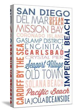 San Diego, California - Typography by Lantern Press