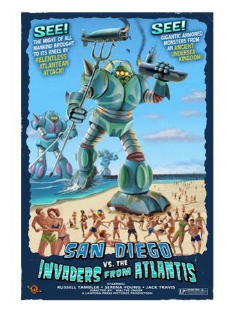 San Diego, California vs. The Atlantean Invaders by Lantern Press