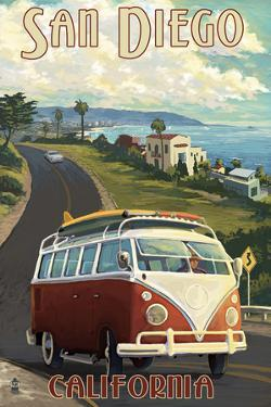 San Diego, California - VW Van Cruise by Lantern Press