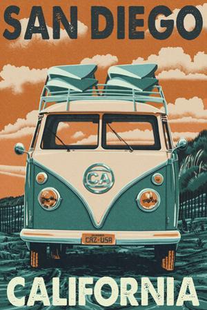 San Diego, California - VW Van by Lantern Press