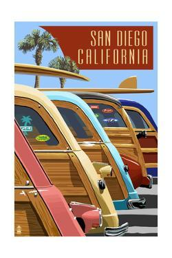 San Diego, California - Woodies Lined Up by Lantern Press