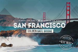 San Francisco, CA - Golden Gate Bridge and Waves - Stamp by Lantern Press