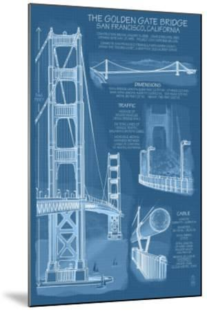 San Francisco, CA, Golden Gate Bridge Technical Blueprint by Lantern Press