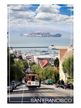 San Francisco, California - Cable Car and Alcatraz Island by Lantern Press