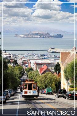 San Francisco, California - Cable Car and Alcatraz Island by Lantern Press
